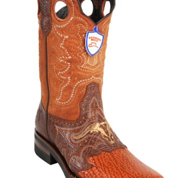 Wild West Boots Mens Sharkskin Saddle Square-Toe Western Boots Cognac