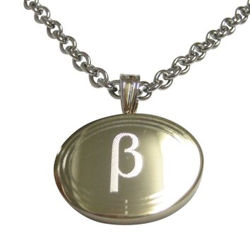 Gold Toned Etched Oval Greek Letter Beta Pendant Necklace