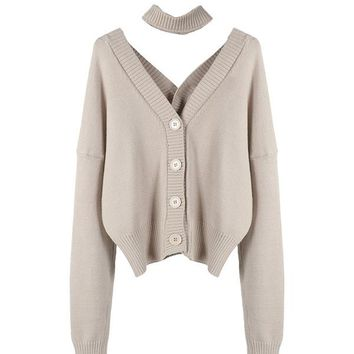V-Neck Button Up Cardigan Choker Sweater