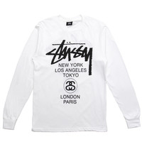 Stussy - World Tour L/S T-Shirt (White)