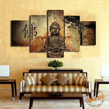 5 Pieces Buddha Canvas Wall Art Picture Home Decoration Living Room Canvas Print Painting On The Wall No Frame