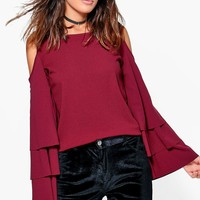 Sophia Cold Shoulder Frill Sleeve Top | Boohoo