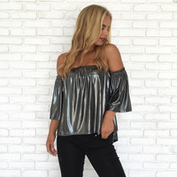 Silver Drop Off Shoulder Blouse
