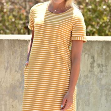 Perfect Summer Stripe Dress - Mustard