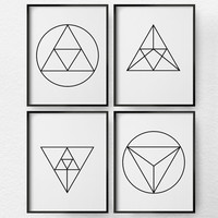 Geometric Art, Geometric Print, Black and White Art, Minimalist Art, 4 Set Geometric Wall Art, Modern Decor, Living Room Decor, 0365