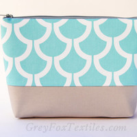 Aqua blue and gray #cosmetic #case in Koi print. #Makeup #bag #zipper #pouch clutch #pencil #case