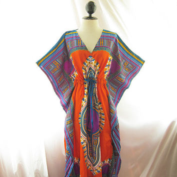 Bohemian Mexican African Maxi Kimono Fretwork Aztec Orange Purple Seville Tribal Tie String Lounge Exotic Kaftan Coverup Hippie Long Dress