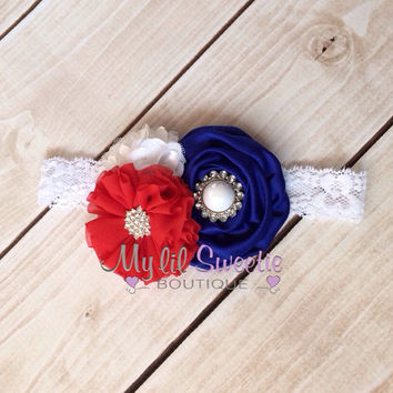 Fourth of July headband, red white and blue headband, trio headband, baby headband, toddler headband, infant headband, adult headband.