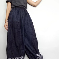 Harem ruffle pants unique style boho denim lightweight and woven (pants01).