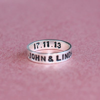 Hand - Stamped Silver Name Ring - Personalized Ring - Hand Stamped Jewelry