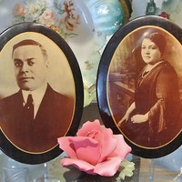 1900s Celluloid Tin Easel Buttons Large Antique Victorian Rare Ethnic Sepia Photos Photographs Pair Faux Wood Grain Frame Mourning Cottage