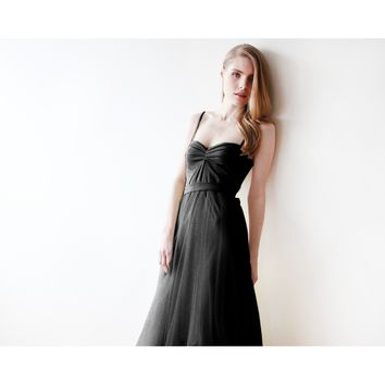 Black maxi ballerina tulle dress 1061