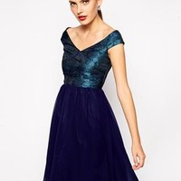 Little Mistress | Little Mistress Babydoll Bardot Prom Dress with Metallic Jacquard Bodice at ASOS