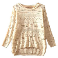 Beige Geometric Crochet Knitted Sweater