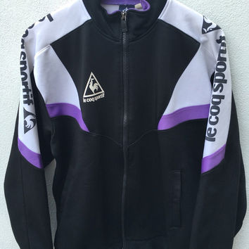 Vintage LECOQSPORTIF Black purple white Tennis Borg Lendl Agassi McEnroe Warm up Trsiner Athletic Track Bomber Jacket