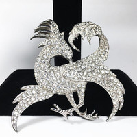Vintage 1930s 1940s Griffin Brooch, Large Rhinestone Edwardian Era Gryphon, Art Nouveau Style Griffon, Mythological Collectible Jewelry