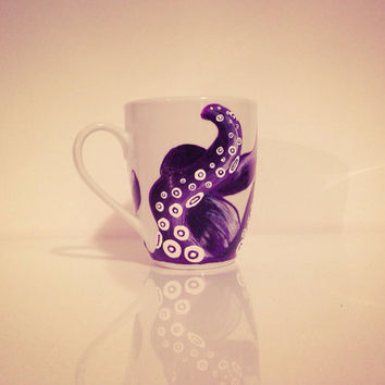 Hand painted purple octopus ceramic mug by ArianaVictoriaRose