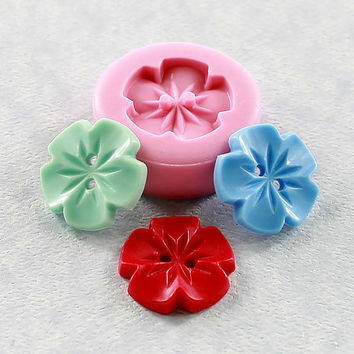 Vintage Flower Button Silicone Mold Mould Resin, Polymer Clay, Chocolate, Fondant, Candy (289)