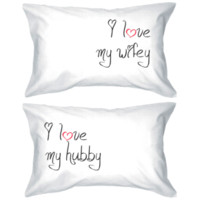 I Love My Wifey & Hubby Matching Couple Pillow Cases