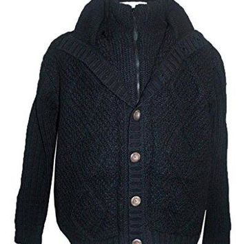 DD WJ Agan Traders Unisex Lamb Wool Fleece Crochet Sherpa Cardigan Sweater ~ Nepal