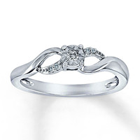 Diamond Promise Ring 1/20 ct tw Round-Cut Sterling Silver
