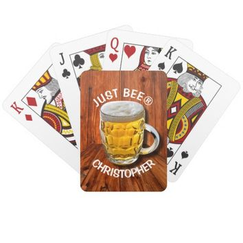Glass Pint Beer Mug With White Head With Your Text Deck Of Cards