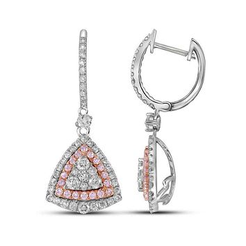 14kt White Gold Womens Round Pink Diamond Triangle Dangle Earrings 1-1-2 Cttw