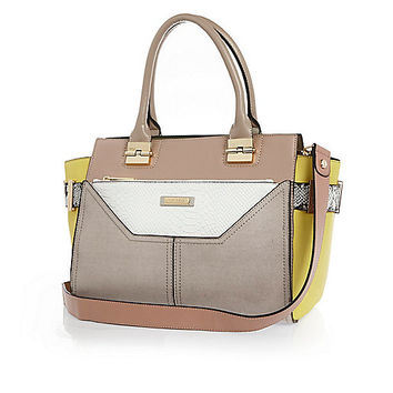 Grey winged tote handbag and clutch - shopper / tote bags - bags / purses - women