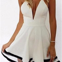 Cupshe Adorable Plunging Neck Sheer Panel Dress