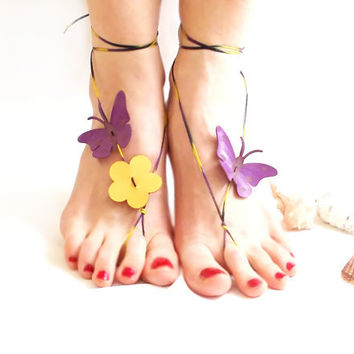 Barefoot sandal, Butterfly Barefoot Sandal, Purple, Genuine leather butterfly, Nude shoes, chamois leather, Anklet, Natural anklet