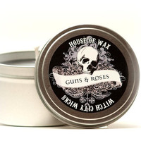 Guns & Roses, gunpowder and rose scented soy candle 8 oz. tin, dark decor