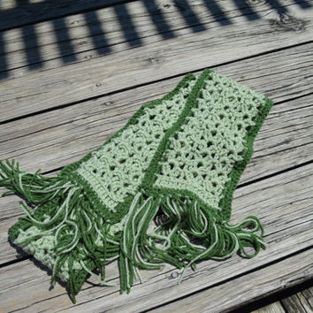 Crochet Scarf, handmade scarf, green scarf, winter scarf, fringed scarf, sage colored scarf, neck warmer, cold weather, Christmas gift