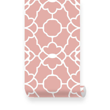 Large Trellis Pattern Pink Fabric Wallpaper