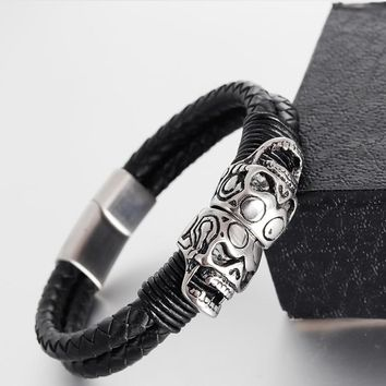 Punk Genuine Leather Bracelet Bangle Double Skull Charm Bracelet Men Women Woven Leather Rope Jewelry Magnet Rope Chain