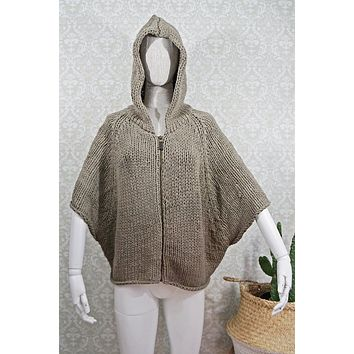 Woven  Hooded Poncho Sweater