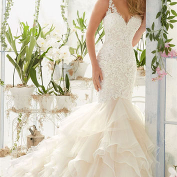 Sexy Mermaid Wedding Dresses 2017 Newest Sheer V Neck Beaded Appliques Organza Ruffles Bride Dress Trumpet Bridal Gowns Wedding