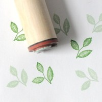Three Veined Leaves Rubber Stamp