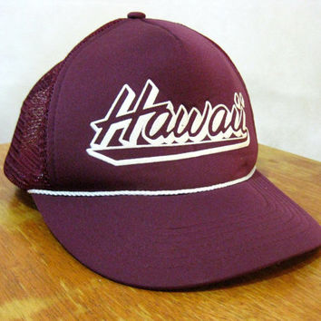 80s Trucker Cap, Vintage Burgundy Hawaii Adjustable Trucker Cap by Hawaiian Headwear