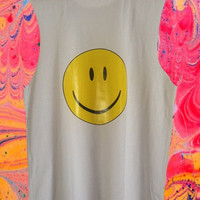 New UNISEX Grunge Bright  Yellow SMILEY face sleeveless muscle top shirt S-XL