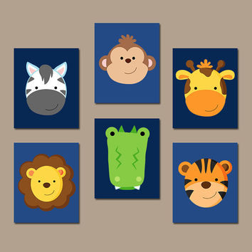 Safari Animals Nursery Wall Art, Animal Heads, Jungle Animals, Baby Boy Bedroom Pictures, Zoo Animals Decor Canvas or Prints Set of 6