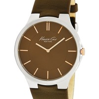 Kenneth Cole New York Watch, Men's Brown Leather Strap 42mm KC1848 - All Watches - Jewelry & Watches - Macy's