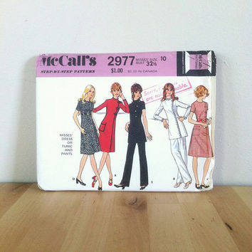 McCall's 2977 Misses' Dress or Tunic and Pants {1970s} Vintage Sewing Pattern