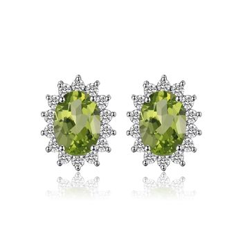 Jewelry Palace Princess Diana Natural Amethyst Citrine Garnet Peridot Topaz Stud Earrings 925 Sterling Silver