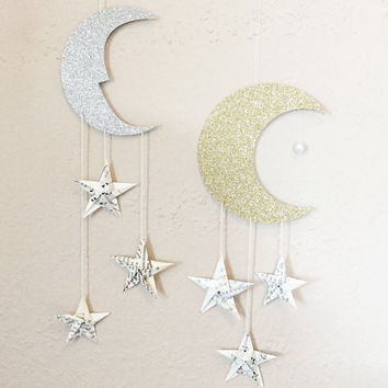 Celestial crescent moon wall hanging