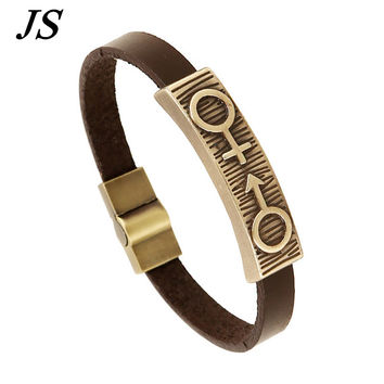 JS 2016 Roman LGBT Gay Pride Bracelet Male Designer Friendship Leather Cuff Braclet Men Women Best Friends Lesbian Jewelry LB100