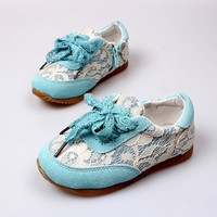Girls Blue Lace Sneakers