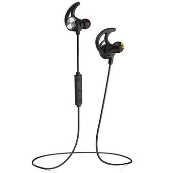 VONW3Q Phaiser BHS-750 Bluetooth Headphones Runner Headset Sport Earphones with Mic and Lifetime Sweatproof Guarantee - Wireless Earbuds for Running, Blackout