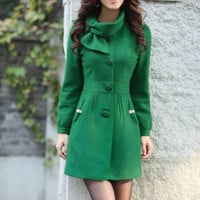 Green Single-breasted Winter Coat/Woman coat/ Woman Jacket/Tunic/ Long Jacket/Short Jacket/ Long Sleeves/Woman Tunic
