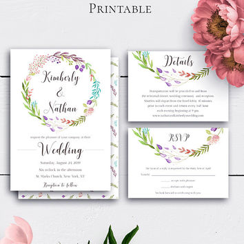 Floral Wreath Boho Wedding Set, Wedding Invite, Invitation Set, Rustic Wedding Suite, Watercolor Flowers, Invitation With Inserts