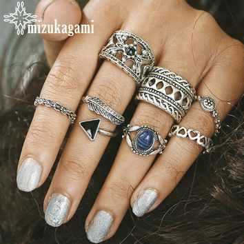 7pcs/set Retro Joint Ring Set Bohemian National Wind Triangular Arrowhead Lotus Elephant Carved Stone Jewelry Rings